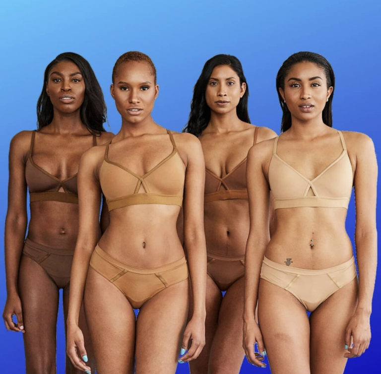 Black women in nude lingerie